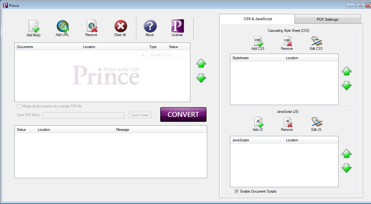 Image showing the license button in the main Prince GUI.
