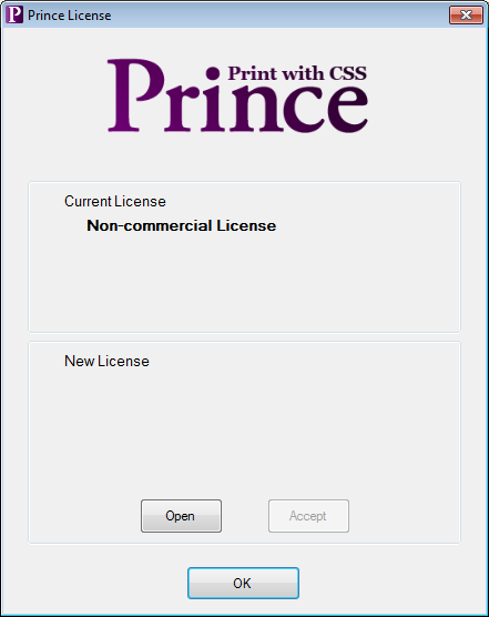 Image showing the license window with the open button