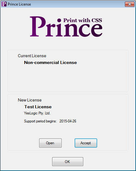 Image showing the license window with a license selected but not yet installed