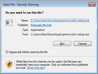 Confirmation dialog box asking if the user wishes to run the installer.