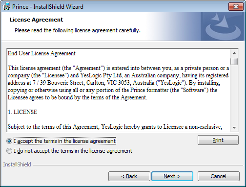 The installer license agreement screen